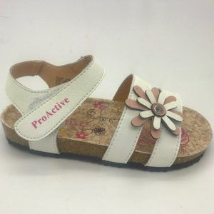 Girls Shoes ProActive Tulip White Flower Sandals